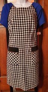 #502 IE black white and royal blue dress NWT